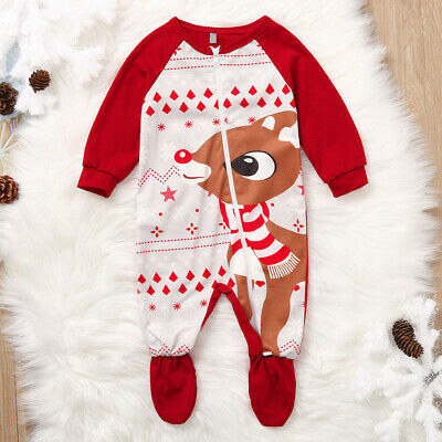 Newborn Baby Girl Boy Xmas Deer Romper Jumpsuit Christmas Outfits Clothes FS
