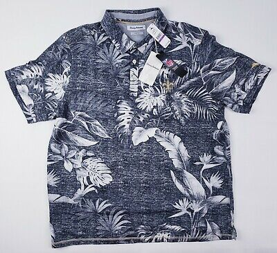 Rare Saints Tommy Bahama Embroidered All-Over Floral Print Polo Camp Shirt XXL