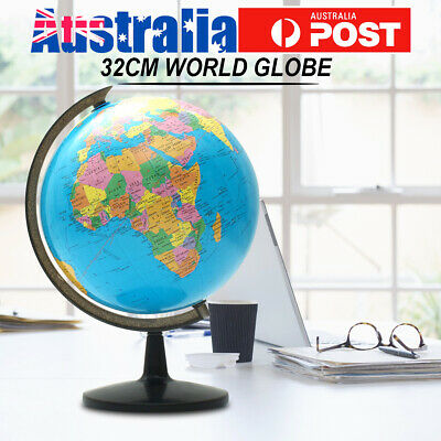 32cm Rotating Earth World Globe Map Free Standing Table Educational Home Decor