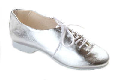 Dance Depot Girls Full Rubber Sole Shiny Silver Jazz Shoes, UK 1, New