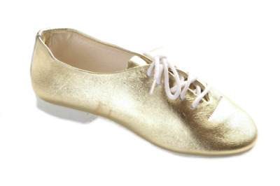 Dance Depot Girls Full Rubber Sole Shiny Gold Jazz Shoes, UK 6, New