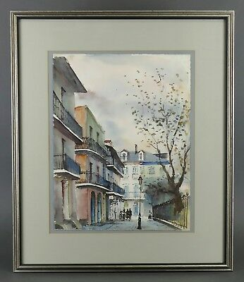 Vintage NESTOR FRUGE Watercolor Painting NEW ORLEANS Louisiana Listed STREET