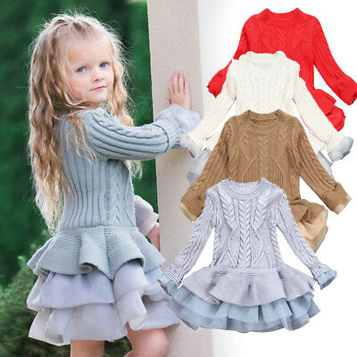 Kid Baby Girl Knitted Sweater Winter Pullover Crochet Tutu Dress Tops Clothes MD