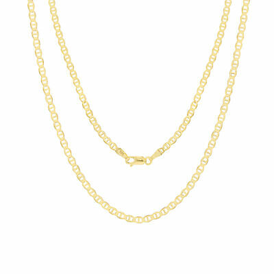 14K Yellow Gold Solid 3mm Anchor Mariner Gucci Link Chain Pendant Necklace 20""