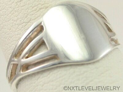 Antique Ostby & Barton 1920's Art Deco Solid Silver Cocktail Blank Signet Ring