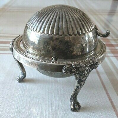1883 F.B. Rogers Silver Co 273 Silverplate Roll Top Lion Footed Butter Dish