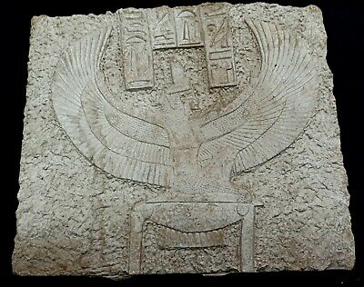 Rare Huge Winged Isis Egyptian Goddess Relief Sculpture Wall Plaque Hieroglyphic
