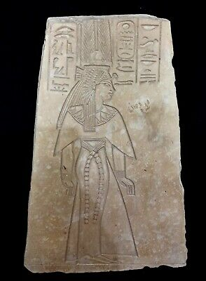 Large Antique Cleopatra Relief Plaque Stela Egyptian Hieroglyphics Nefertiti art