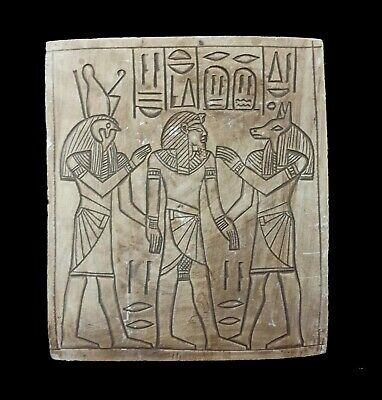 Egyptian Antique Relief Craft Plaque Horus Anubis Tutankhamun Hieroglyphics wall
