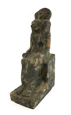 Rare Ancient Figurine Throne Egypt Sculpture Lioness Sitting Antiquities Granite