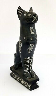 Huge Bastet Egyptian Cat Statue Goddess Figurine Ancient Black Bast hieroglyphic