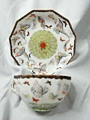 Rare Antique Oriental Eggshell Porcelain Cup & Saucer Hand Painted  Butterfies