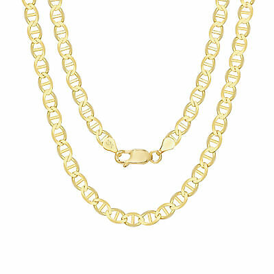 """10K Yellow Gold Solid Mens 5mm Anchor Mariner Gucci Link Chain Necklace 26"""" 26in"""