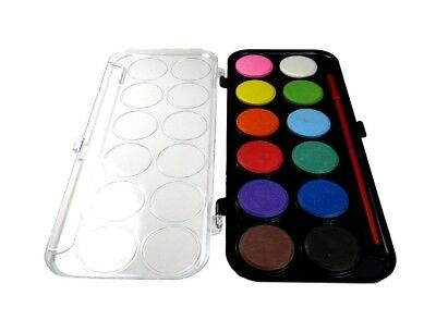 Water Color Paint Palette Set 12 Colors with Brush School Kids Art Drawing Gift