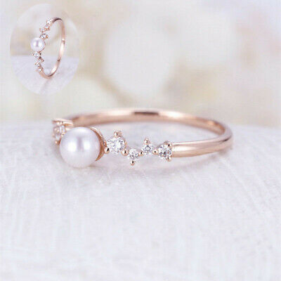 Cut Wedding Size6-10 Round Filled Gold Gorgeous Rings Pearl White Rose Women's