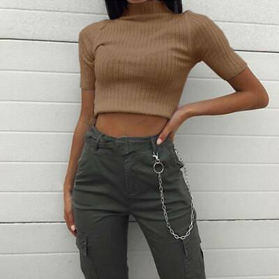 Fashion Women's Casual Solid Knitted Sexy T-Shirt Slim-Tops JA