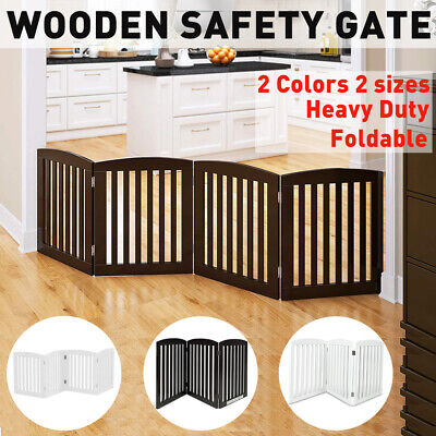 Safety Pet Puppy Gate Security Barrier Folding Wooden Door Stair Guard 3/4 Panel