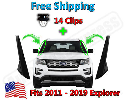 11-19 Ford Explorer Windshield Outer Trim Pillar Molding Driver+Passenger+Clips