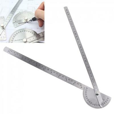 Stainless Steel 180° Protractor Round Head Rotary Angle Rule Double Arm Ruler
