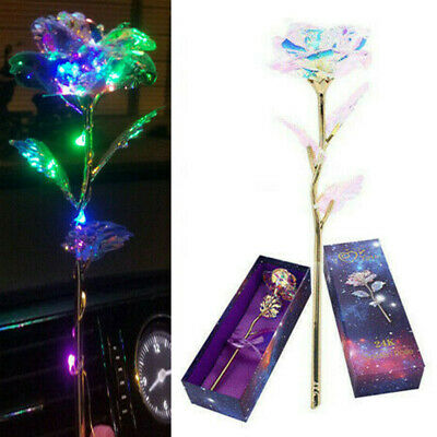 24K Gold Plated Galaxy Rose Glowing for Valentine Birthday Girls Lady Wife Gifts