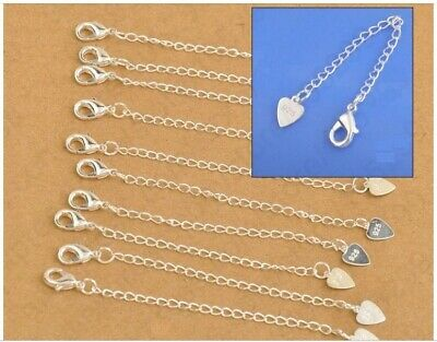925 Stamped Silver Chain Extender Necklace Bracelet Extension Lobster Clasp Tail