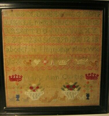 Antique Framed Sampler Hand Worked Sampler by Mary Ann Curtis