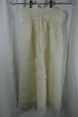 "VINTAGE 1970s ivory lace mesh christening gown dress 27"" long 6 months"
