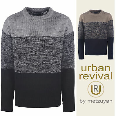 Mens Knitted Jumper Crew Neck Knitwear Sweater Thick Warm Winter Stylish Xmas