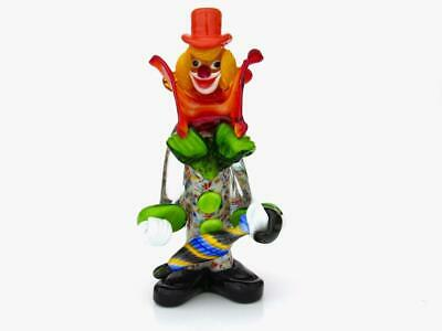 Signed -Murano Art Glass Multi Coloured Glass Clown Sculpture & with Certificate
