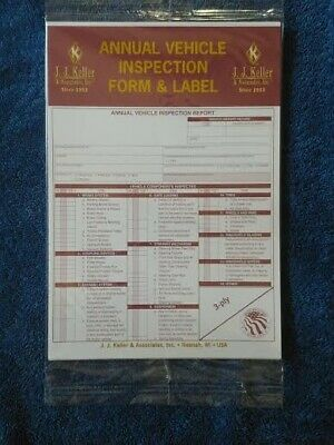 Lot of 25 JJ Keller 471 Annual Vehicle Inspection Report  and Label 9MP