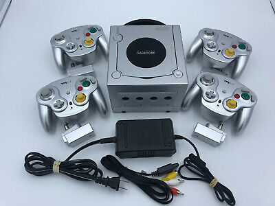 Nintendo Gamecube Platinum Silver with WIRELESS CONTROLLERS! CLEANED &TESTED! GC