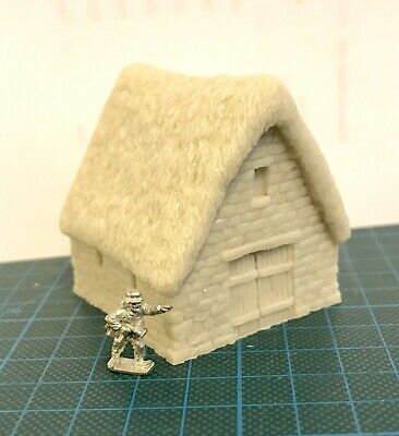 15mm / 10mm Wargame building. Thatched Stone Barn- Wargame Scenery. Terrain