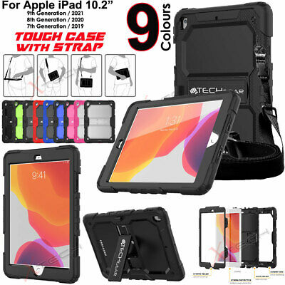 """For Apple iPad 10.2"""" 2019 7th Gen Tough Rugged Armour SHOULDER STRAP Case Cover"""