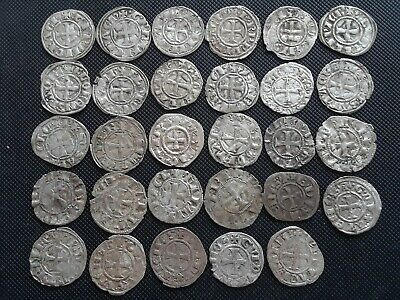 Crusader silver coin starter collection, Templar cross 1300's Byzantine period
