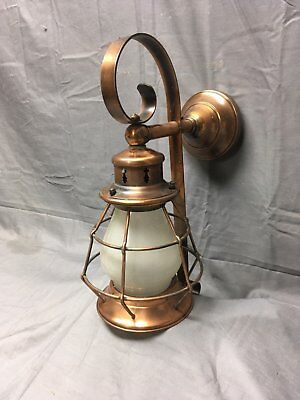 Vtg Mid Century Arts Crafts Copper Porch Sconce Lantern Frosted Glass 389-19E