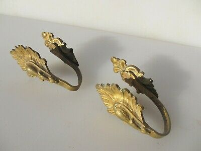 Small Antique Brass Curtain Tie Backs Hooks French Rococo Baroque Old Georgian