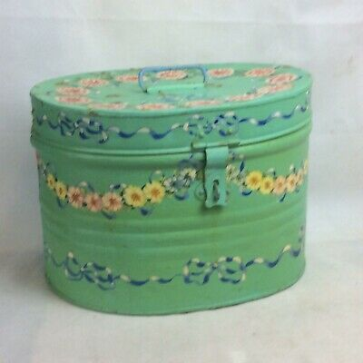 Antique Painted Tin Hat Box. Shabby Chic, French Style