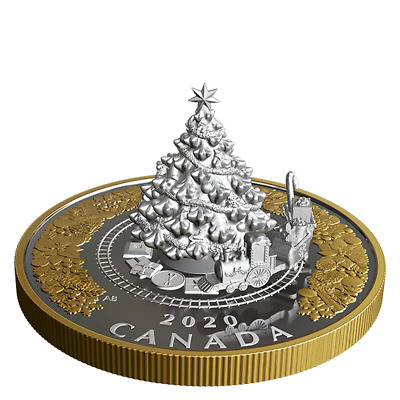 2020 CANADA CHRISTMAS TREE AND TRAIN 50$  5oz. PURE SILVER COIN WITH BOX AND COA