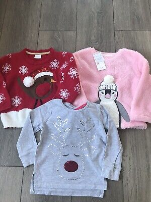 Girls Christmas Jumpers X3 Age 2-3 Years 1 BNWT