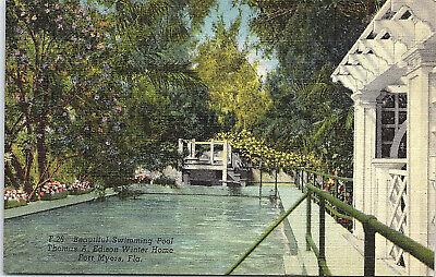 Fort Myers, Florida, Thomas Edison, Winter Home, Swimming Pool - Postcard (C)