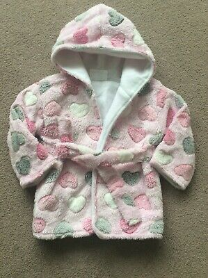 Baby Girls Age 3-6 Month Pink Mix Fleece Hooded Dressing Gown