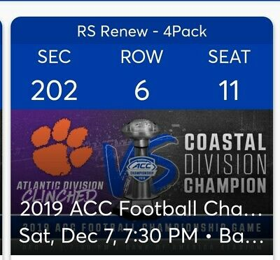 2 Tickets to ACC Football Champ - Lower Level (Sec 202 Row 6)