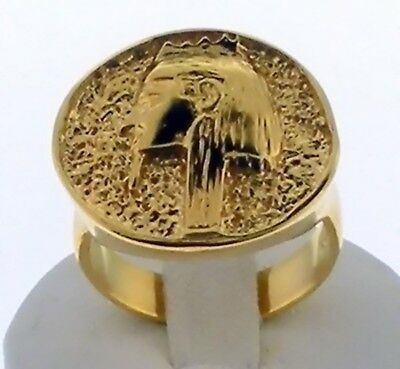King Tut/ Boy King of Egypt /18K.Yellow Gold Tone Finish Size 8.5  LAST ONE !