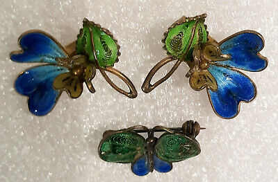Antique Chinese Export Enamel & 800 Silver Clip on Earrings