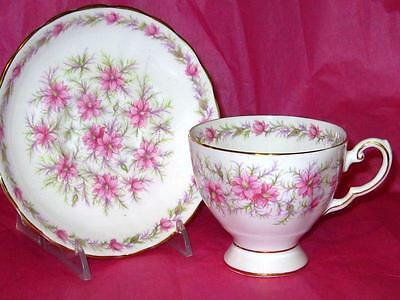 "Beautiful Vintage ""LOVE IN THE MIST Pink/Purple Tuscan Tea Cup and Saucer D 820"