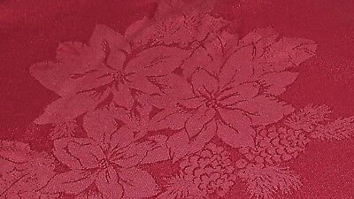 Christmas red damask weave Poinsettia Holly Pinecone mix tablecloth 57 x 114 vtg