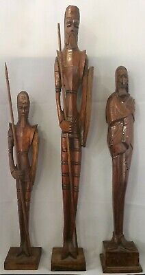3 Hand Carved Don Quixote Vintage 1970's Handcrafted Man Cave Item barware