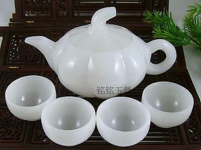 Chinese kung fu tea tea with natural White jade teapot and tea cup A set