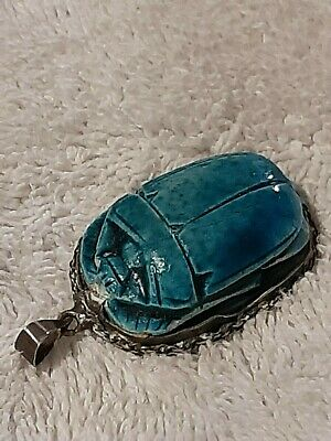 Antique Sterling Silver Setting Egyptian Revival Blue Carved Scarab Pendant !