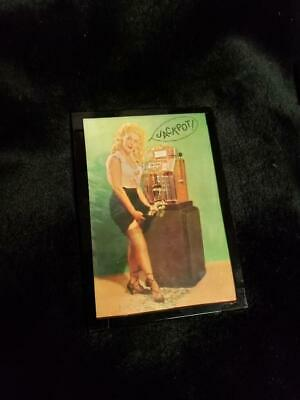 Replacment Mills / Buckley Jackpot Glass Slot Machine Lady Catching Coin #2